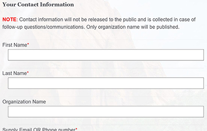 Picture of Contact Information Text Fields