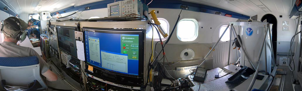Interior of the NOAA Twin Otter shows the range of study equipment for its small space. Photo courtesy of NOAA
