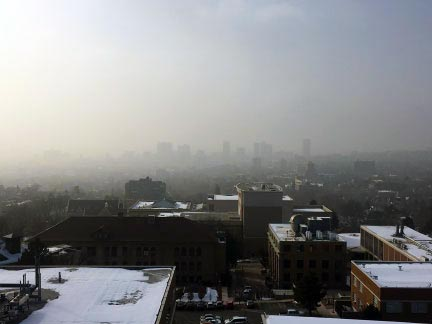 Photo of inversions shows the build-up of fine particulates or PM2.5