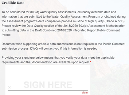 Picture of Credible Data section of form