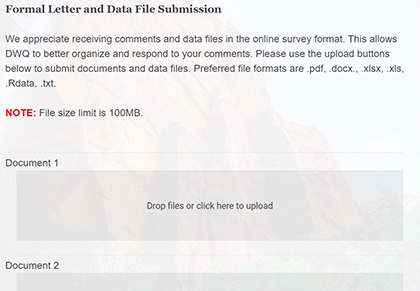 Picture of formal letter and data file submission page of the form.
