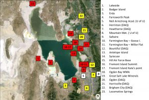 Air monitor locations on the Great Salt Lake.