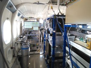 Interior of the Twin Otter shows the air-monitoring equipment for measuring pollutant levels aloft to learn more about the chemical reactions that cause PM2.5.