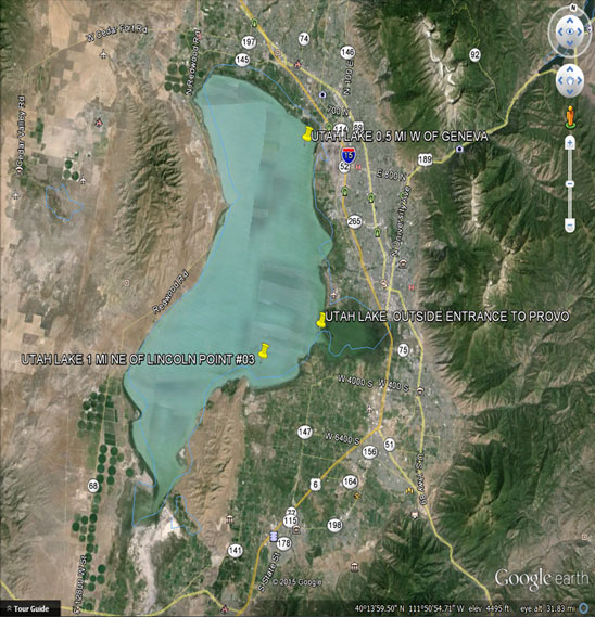 Deployment sites for sondes in Utah Lake. Missing sonde located at the southernmost site.