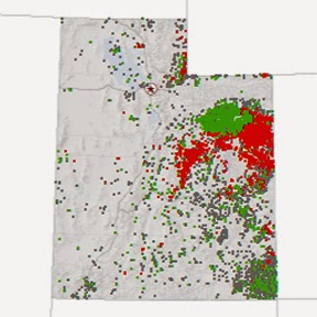 Oil and gas well data. Image courtesy of gis.utah.gov