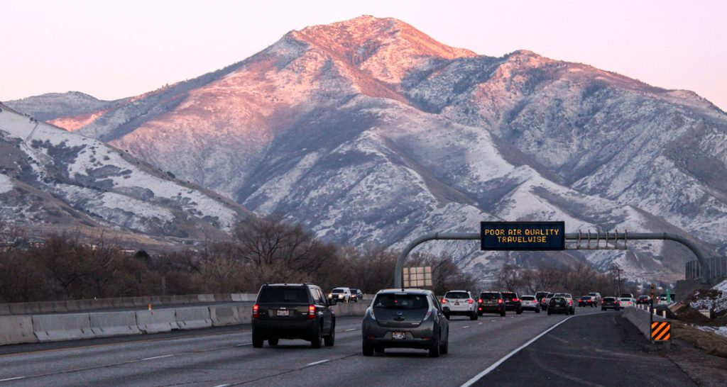 Cars traveling in the winter up Interstate 80 in Northern Utah.