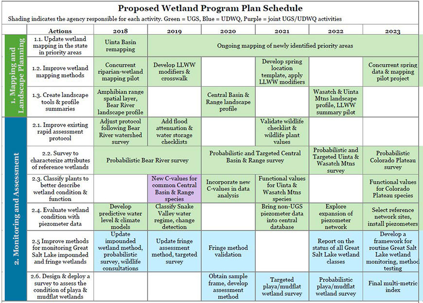 Proposed Wetland Program Plan schedule for Mapping and Monitoring actions.