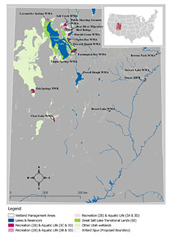 Map of designated beneficial uses applicable to Utah wetlands according to Utah Administrative Code R317-2-13.11