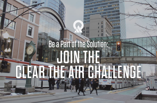Photo of public transit with the words, be a part of the solution: join the clear the air challenge