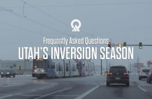 "Image of traffic during an inversion with the words ""Frequently Asked Questions About Utah's Inversion Season"""