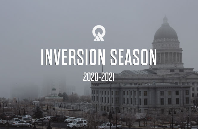 "Image of the Utah Capitol on a polluted day with the words ""Inversion Season 2020-2021"