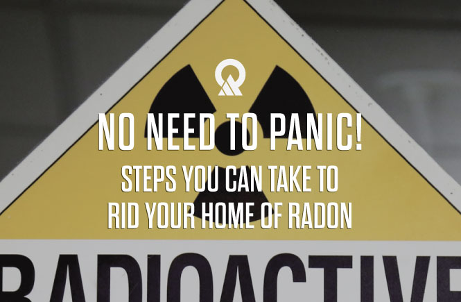 Image of radioactive sign that reads, No Need to Panic! Steps you can take to rid your home of radon.