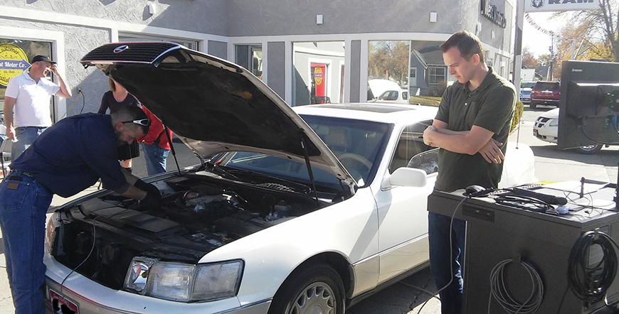 DAQ's first Clean Car Clinic helped raise awareness about the air-quality impacts of dirty vehicles and provided incentives for vehicle owners to repair or replace polluting vehicles. Photo credit: Idaho Department of Environmental Quality.
