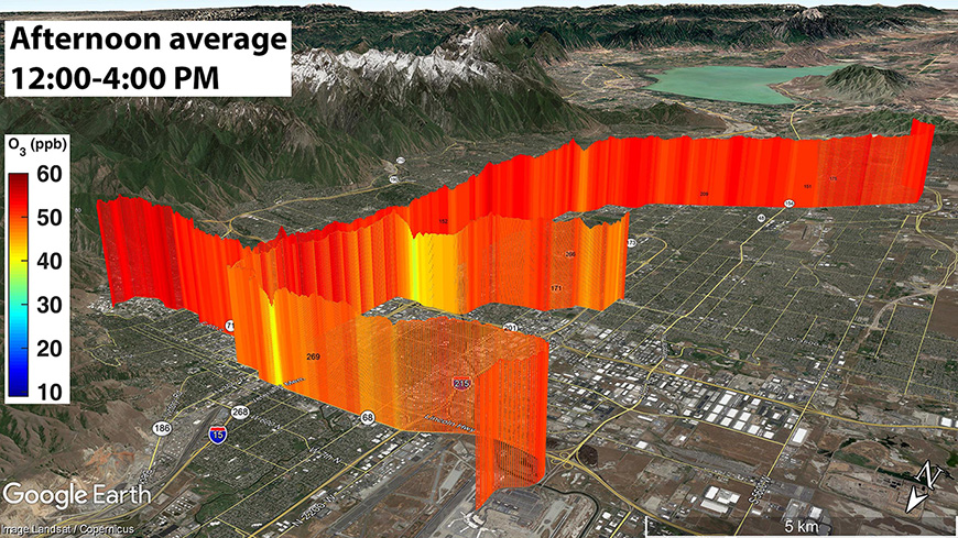 Air-quality monitors on TRAX trains mapped ozone patterns along the Wasatch Front. Levels varied based on the time of day, with the highest levels recorded during the afternoon.