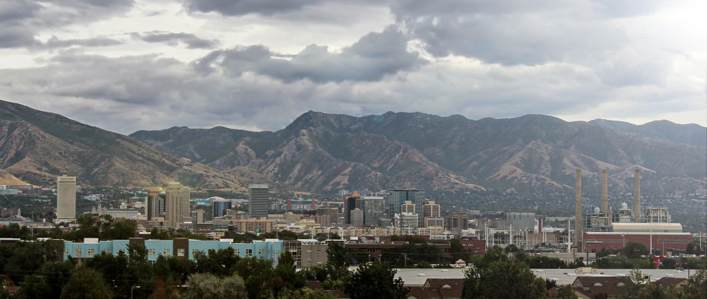 image of clouds over downtown salt lake city