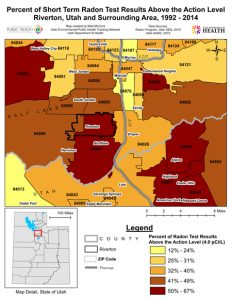 Map showing the where radon is highest in the Salt Lake Valley