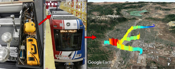 Photos and data from Logan Mitchell. Ozone and particulate matter sensors are housed on the Utah Transit Authority TRAX light rail.