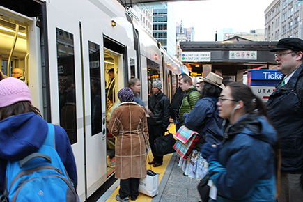 Using public transit helps to reduce emissions across the city.