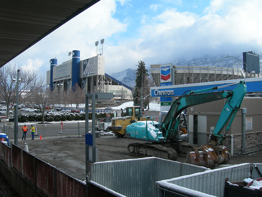 Leak from an underground storage tank (UST) at a gas station across the street from Lavell Edwards Stadium