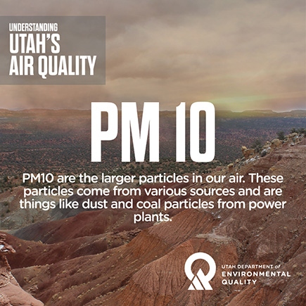PM10 Are the largest particles in our air. These particles come from various sources and are things like dust and coal particles from power plants.