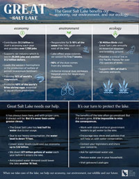 Great Salt lake benrfits our economy, our environment, and our ecology flyer