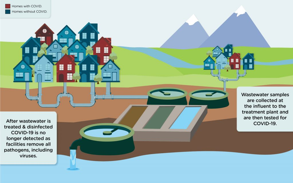 graphic showing how a wastewater treatment pant works